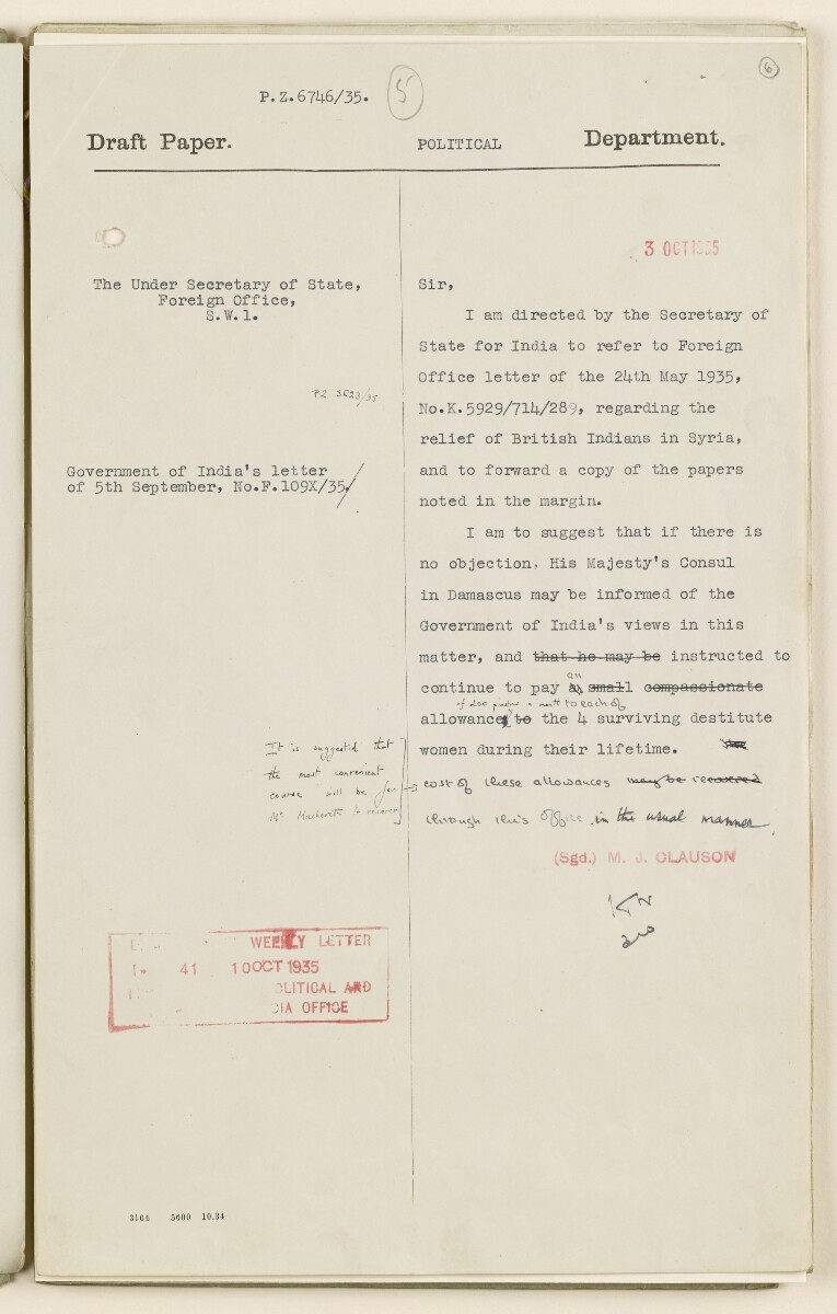 Coll 6/68 'Syria: Relief of destitute British Indians in Syria' [6r] (11/54)