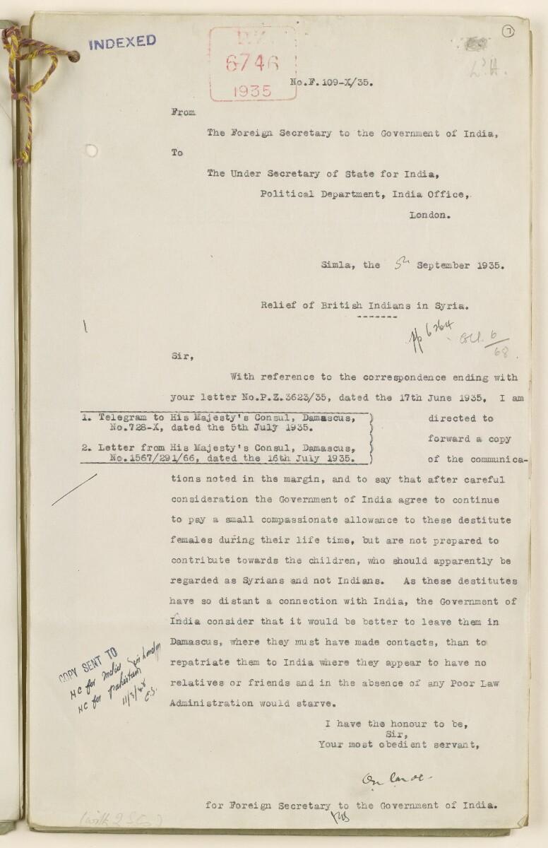 Coll 6/68 'Syria: Relief of destitute British Indians in Syria' [7r] (13/54)