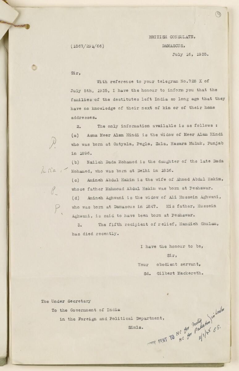 Coll 6/68 'Syria: Relief of destitute British Indians in Syria' [9r] (17/54)