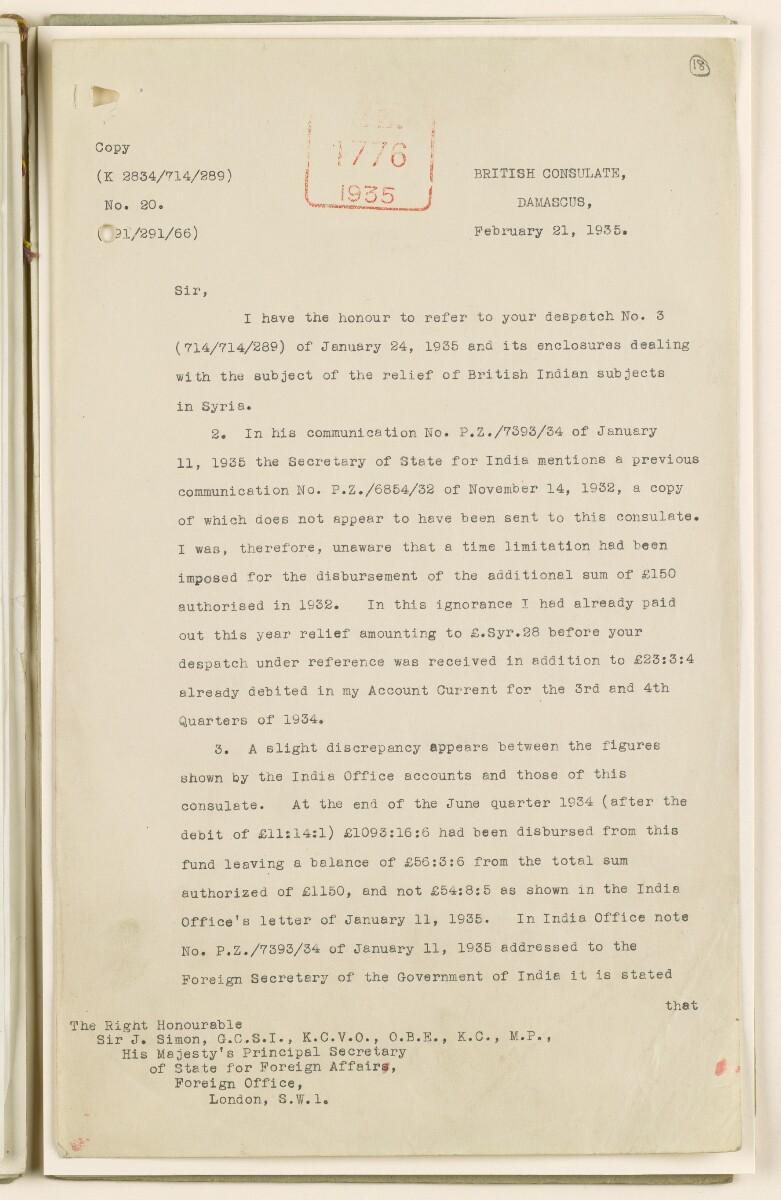 Coll 6/68 'Syria: Relief of destitute British Indians in Syria' [18r] (35/54)