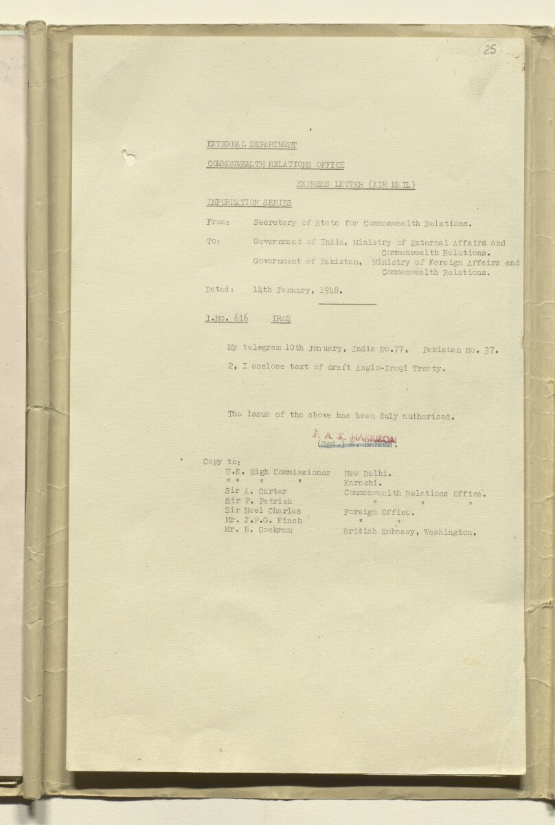 Coll 17/20(1) 'Anglo-Iraqi Treaty of 1930. Revision of Treaty 1948' [‎25r] (49/304)