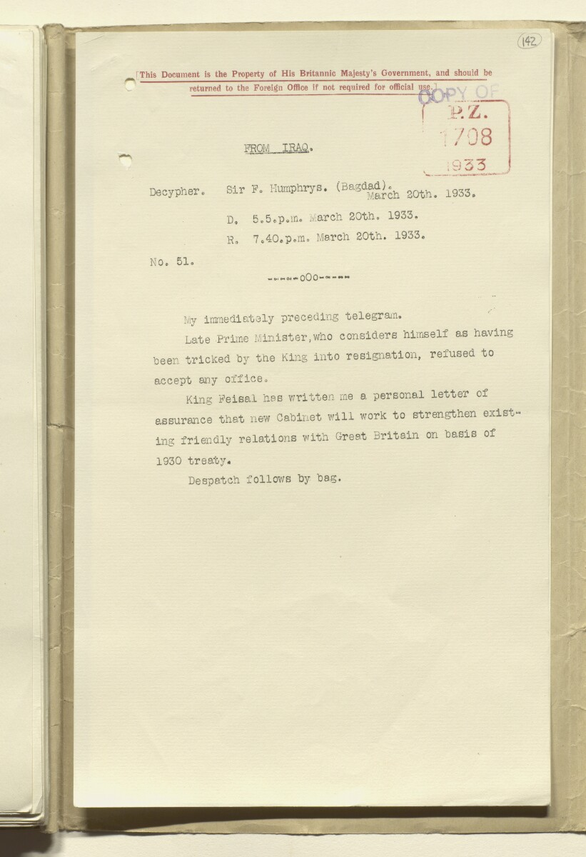 Coll 17/20(1) 'Anglo-Iraqi Treaty of 1930. Revision of Treaty 1948' [‎142r] (283/304)