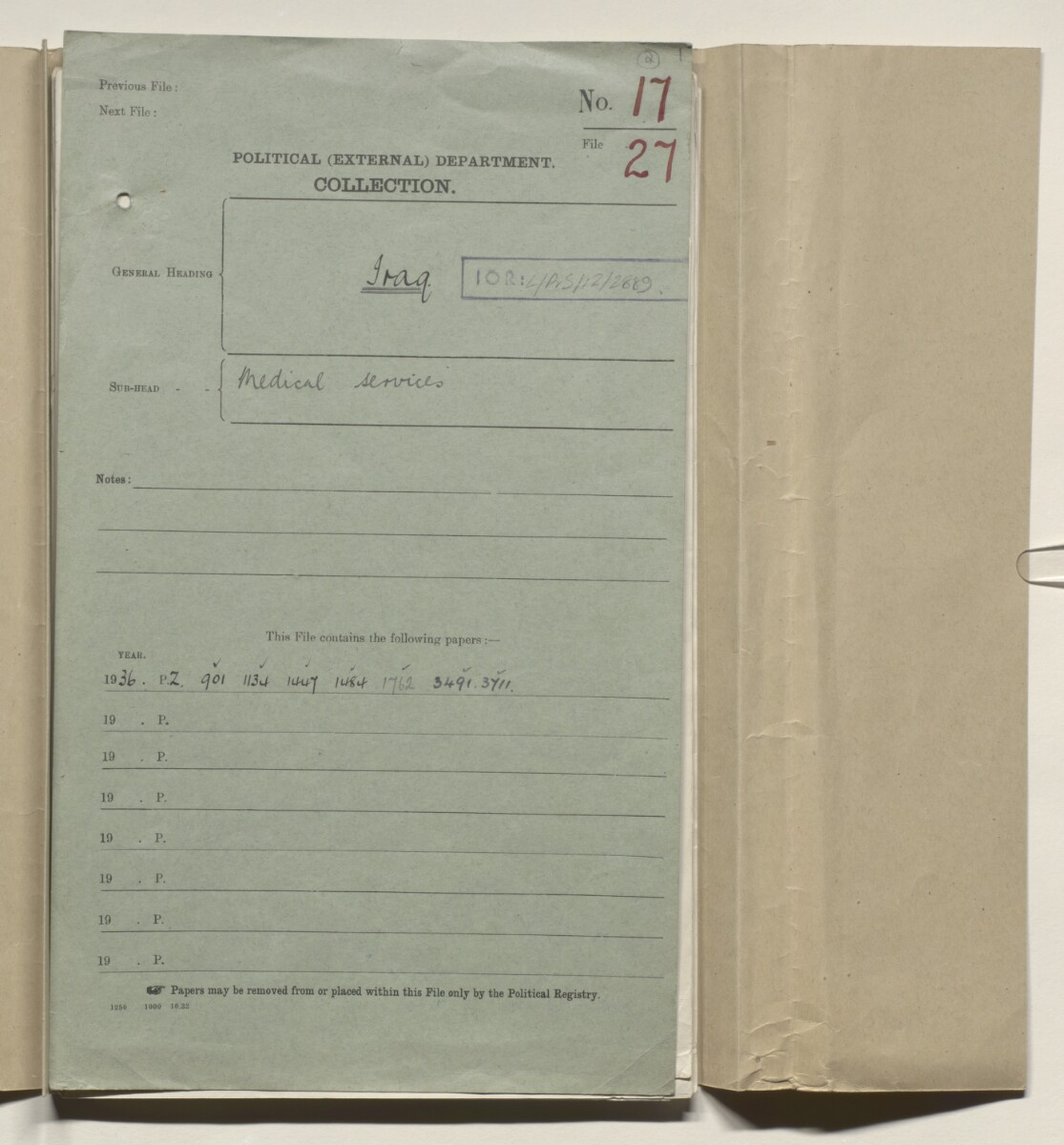 Coll 17/27 'Iraq. Medical services' [‎2r] (3/190)