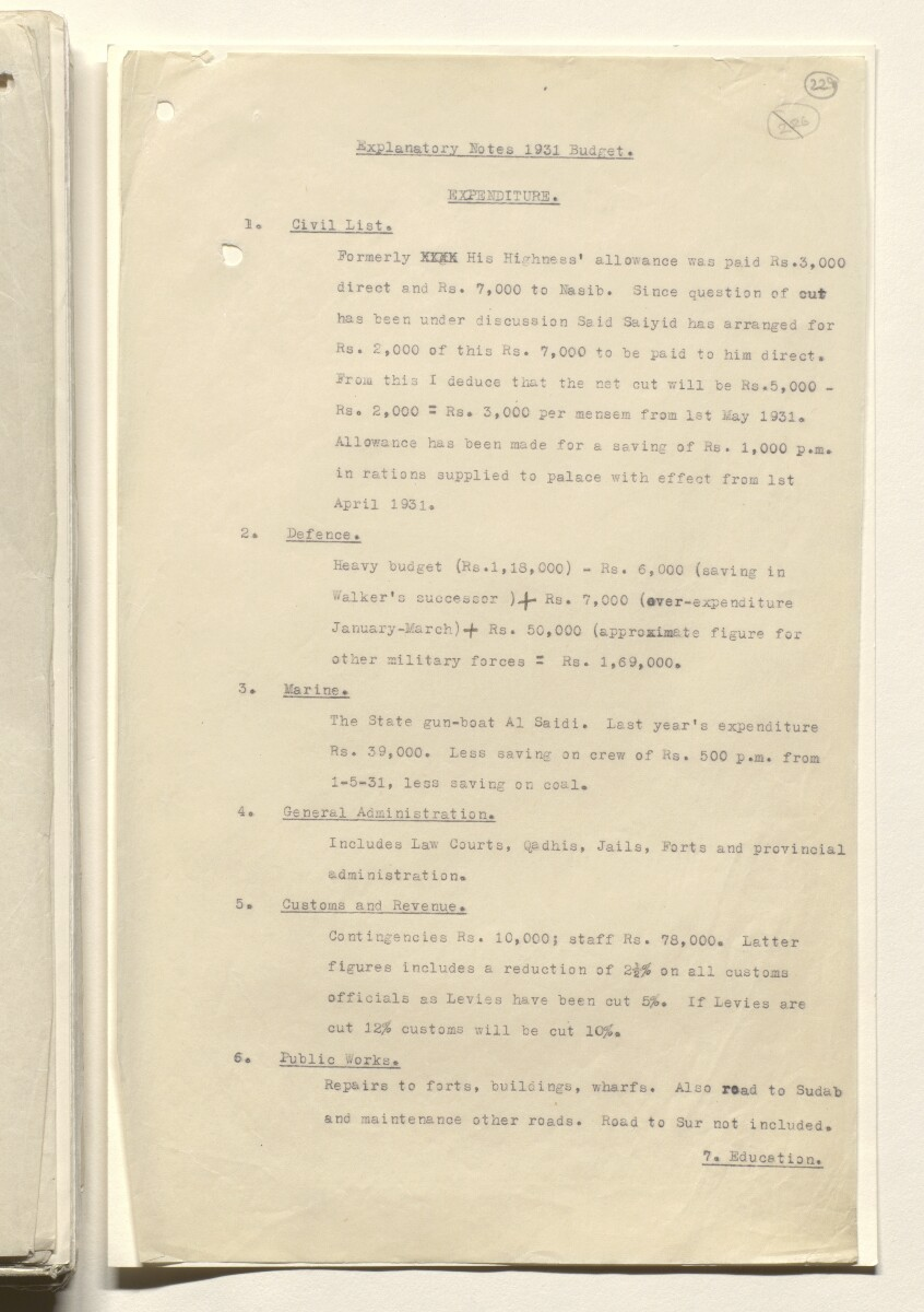 Coll 20/1 'Muscat: Financial Situation: Budget Estimates, etc.' [229r] (457/732)