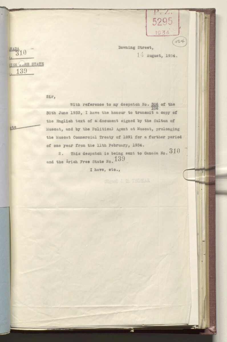 Coll 20/3 'Muscat: Relations with H. M. G.; Commercial Treaty: Renewal' [154r] (313/491)