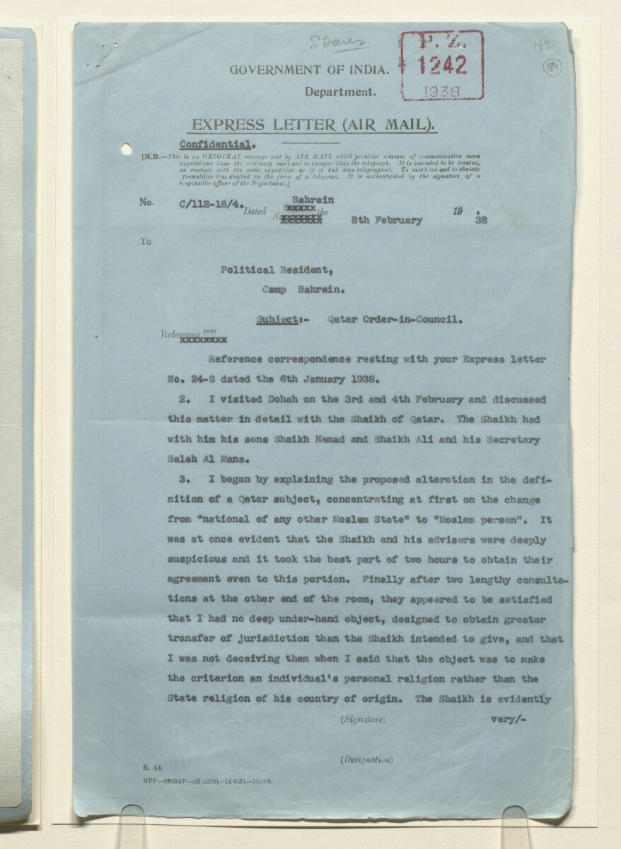 Coll 25/18 'Orders-in-Council: Qatar: Jurisdiction over foreigners in Qatar' [184r] (367/635)
