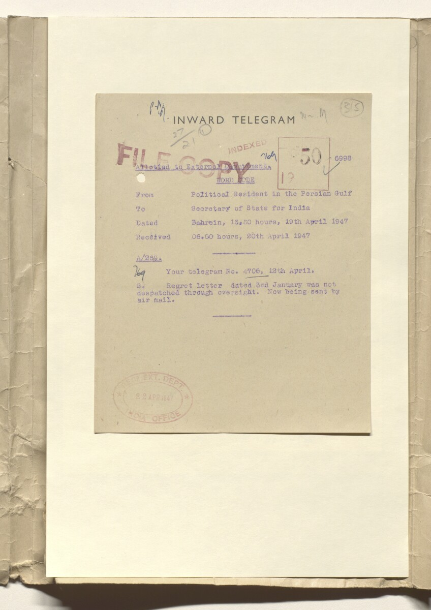 Coll 27/21(1) 'Passports. For employees of oil companies proceeding to the Persian Gulf' [315r] (632/941)