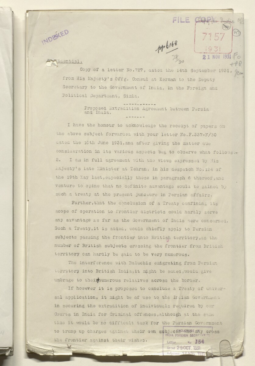 Coll 28/30 'Persia; Perso-Baluchistan Frontier. Improved Control of: Proposed Indo-Persian Extradition Treaty' [147r] (293/483)