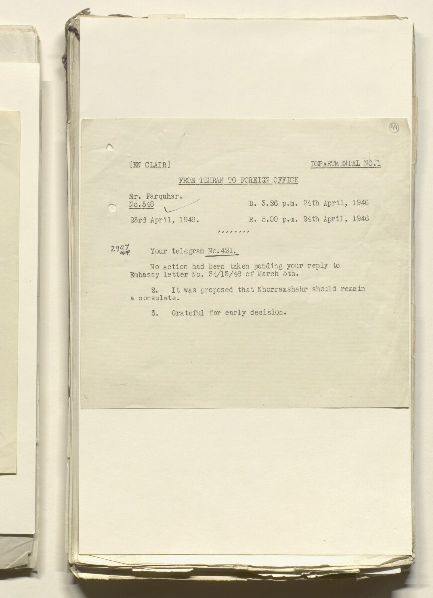 Coll 29/6 'Mohammerah and Khorramshahr: vice consulate and consulate appointments' [49r] (100/470)