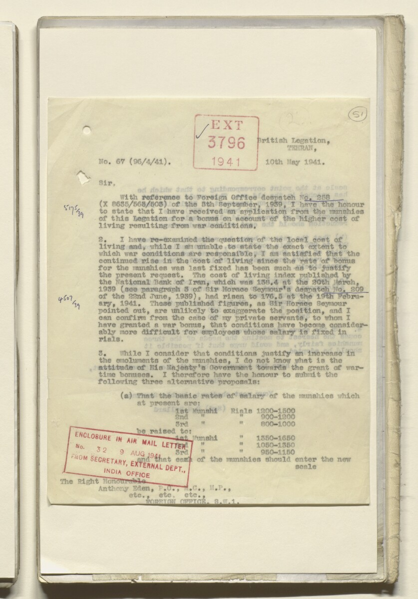 Coll 29/11 'Tehran Legation: pay of munshis and menial staff; office accommodation' [51r] (101/525)