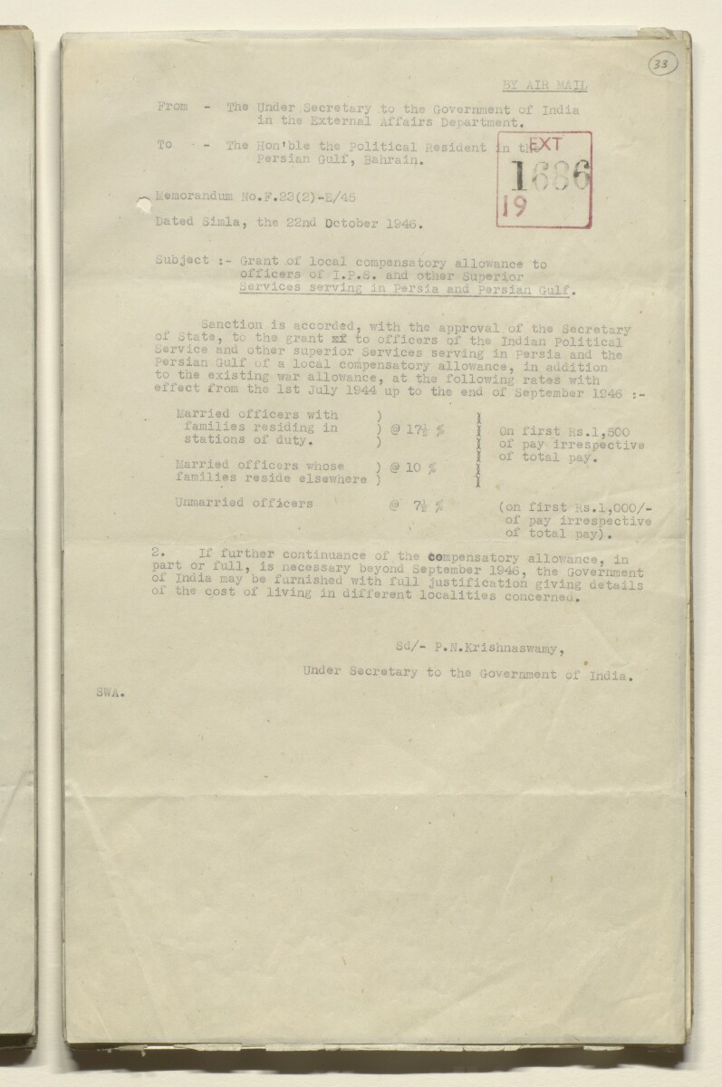 Coll 29/12 'Bushire: office allowance of consul-general' [‎33r] (65/603)