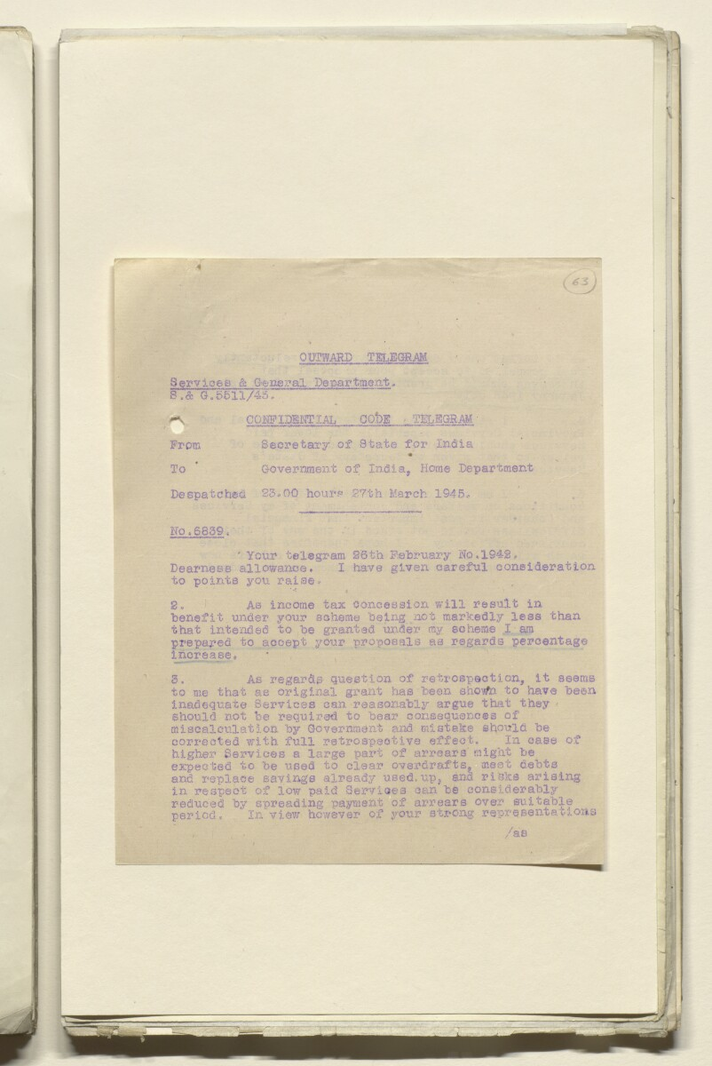 Coll 29/12 'Bushire: office allowance of consul-general' [63r] (127/603)
