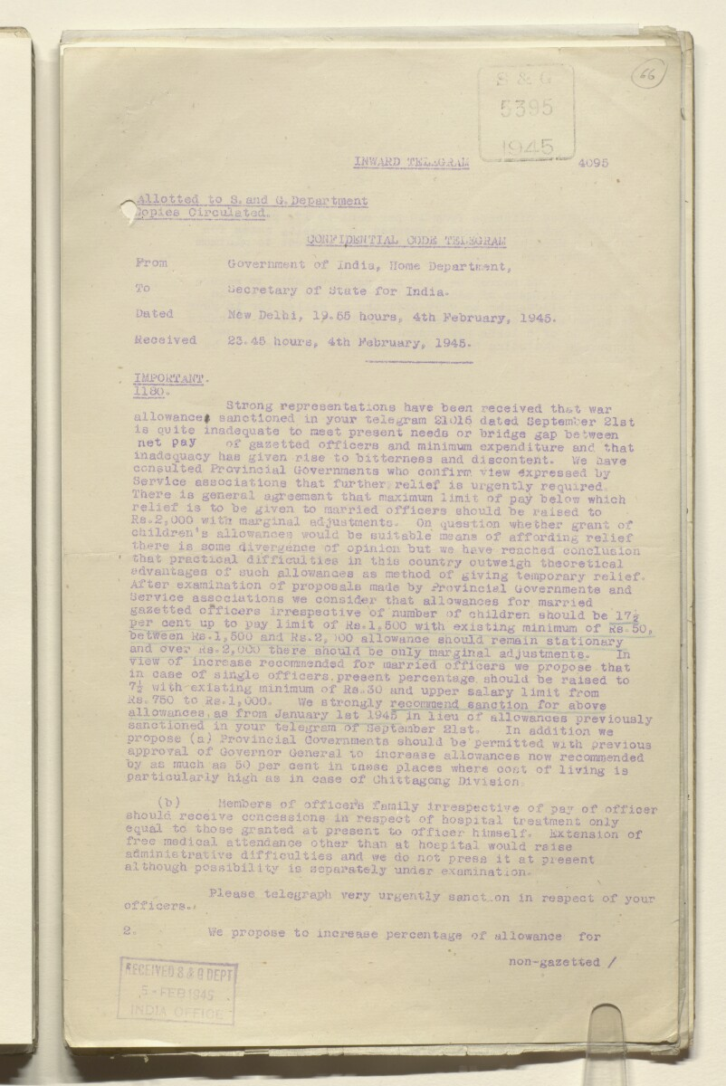 Coll 29/12 'Bushire: office allowance of consul-general' [‎66r] (133/603)