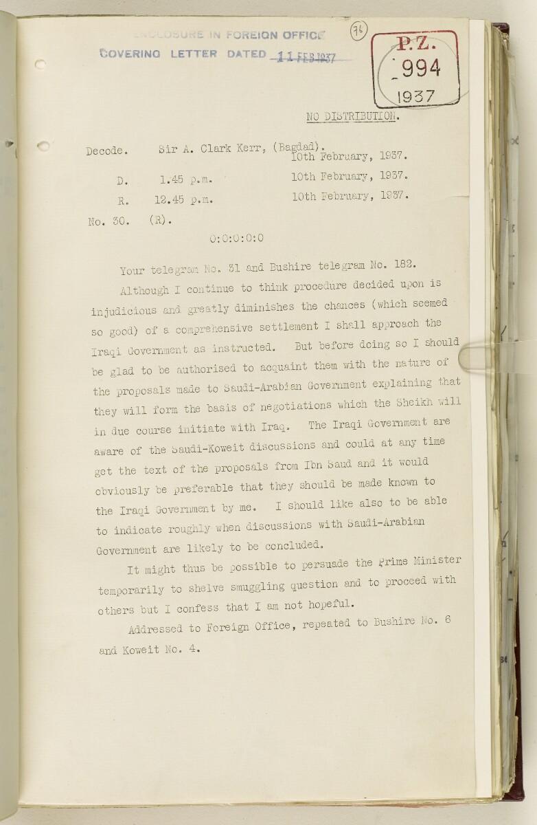 Coll 30/21(2) 'Persian Gulf: Koweit - Blockade by Ibn Saud' [76r] (162/1010)