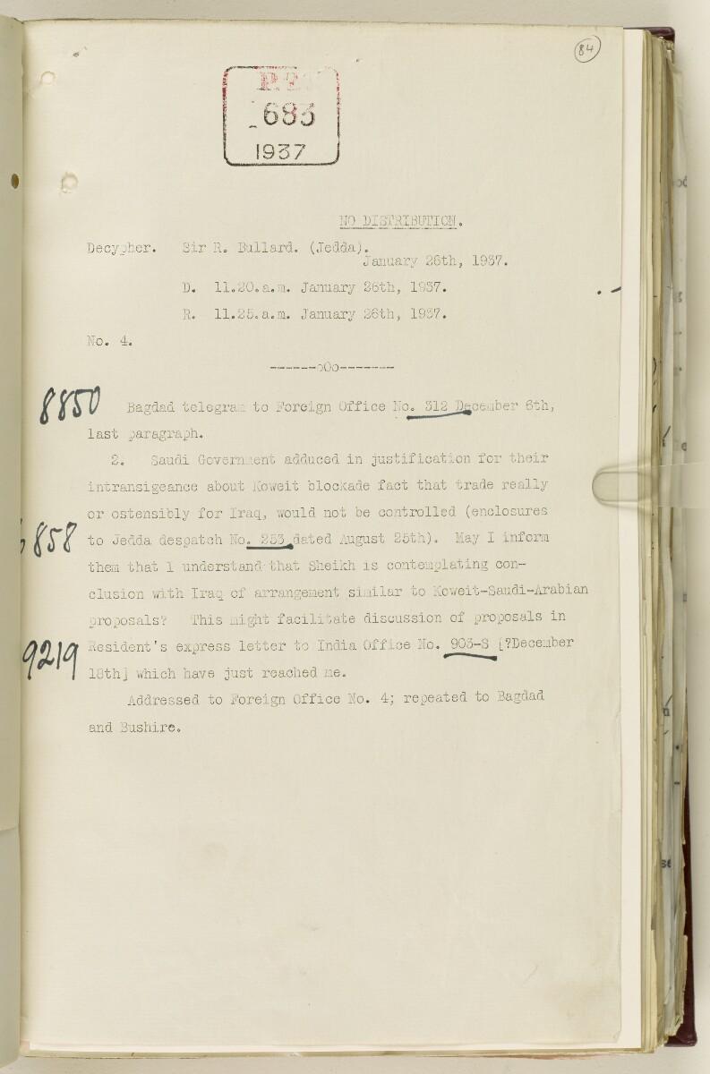 Coll 30/21(2) 'Persian Gulf: Koweit - Blockade by Ibn Saud' [84r] (178/1010)