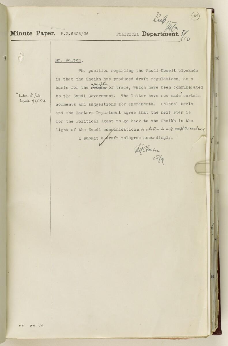 Coll 30/21(2) 'Persian Gulf: Koweit - Blockade by Ibn Saud' [107r] (224/1010)