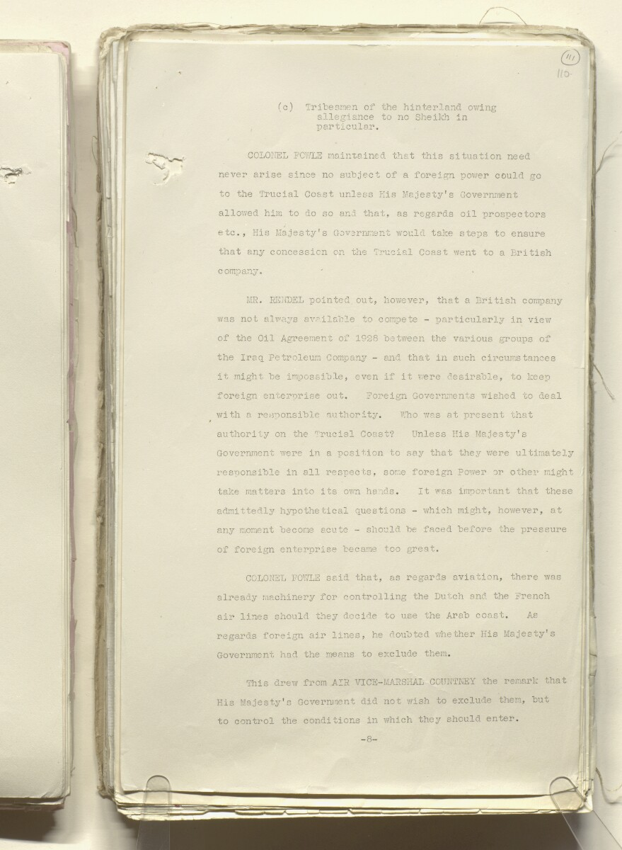 Coll 30/33 'Persian Gulf, Trucial Coast. Policy of H.M.G. List of Trucial Sheikhs' [111r] (221/818)