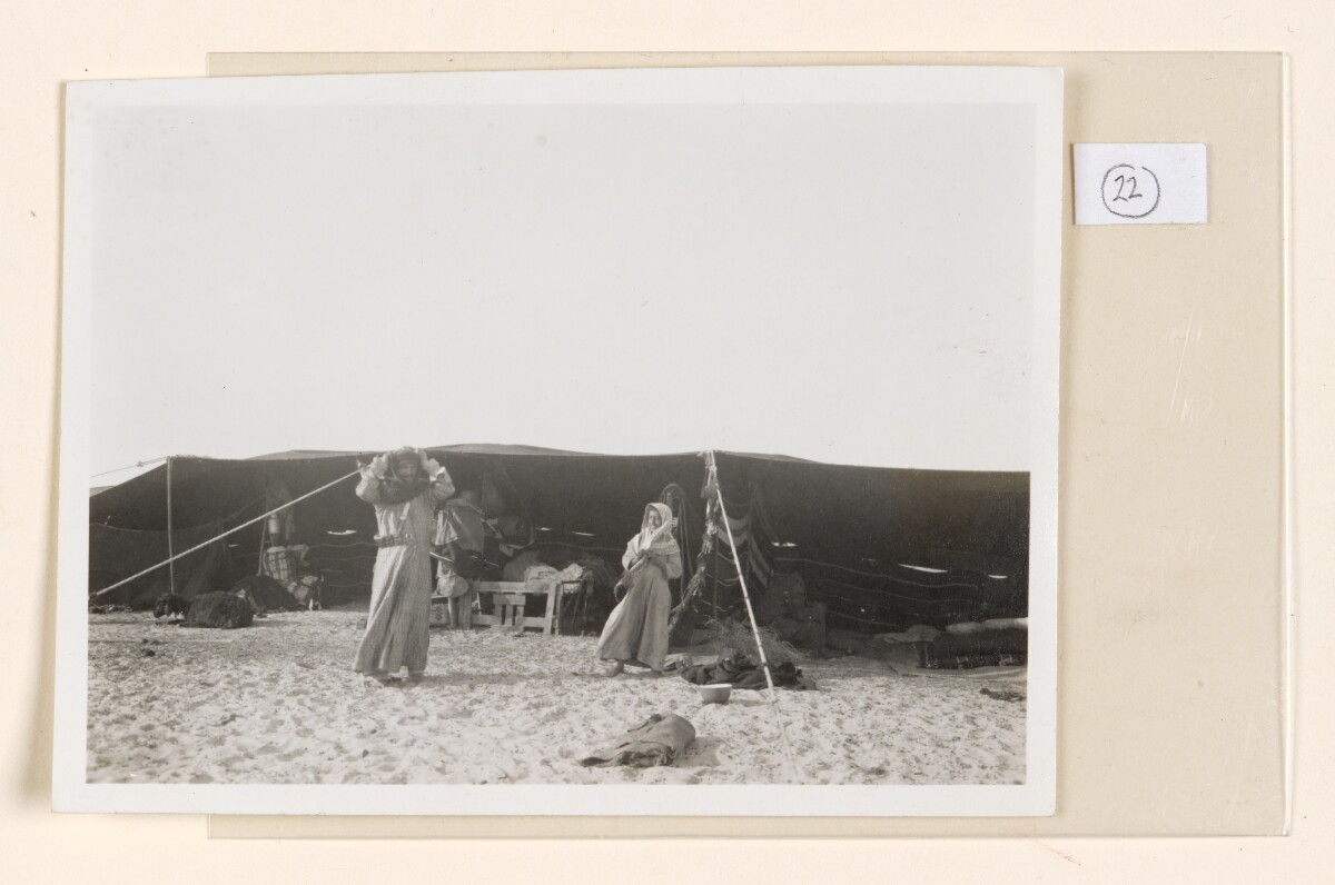 'No.1. Bedouin tent showing guest compartment on right.' [22r] (1/2)