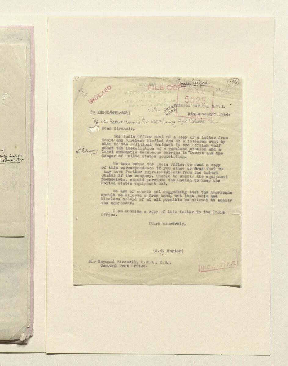 Coll 35/20 'Persian Gulf: Bahrain; installation of a telephone communication between the wireless station of Imperial and International Communications Ltd at Manamah and the landing ground at Muharraq' [136r] (271/431)