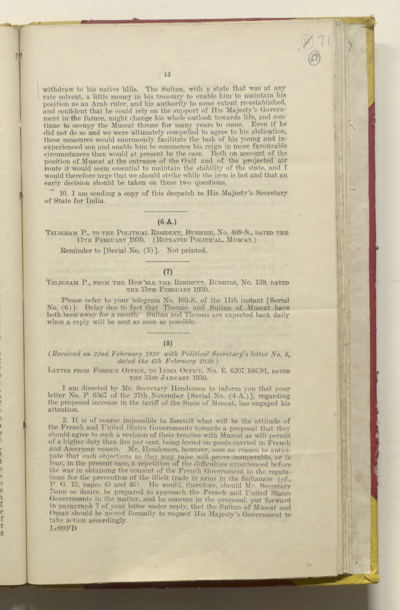 File XXXII/12 '1. Finances. 2. Customs Duties (Sur). 3. Financial Crisis, 1931. 4. Treaties with France and America' [‎69r] (142/266)