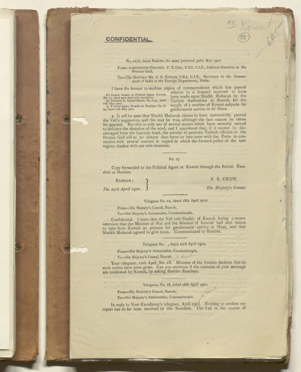 'File II. IRAQ (3) Vol. 1 Shaikh of Kuwait's Date Gardens on the Shatt-al Arab. (Kuwait's relations with Turkish Govt. and Turkish demand that Kuwaitis should take out Turkish Nationality Certificates)' [88r] (185/636)