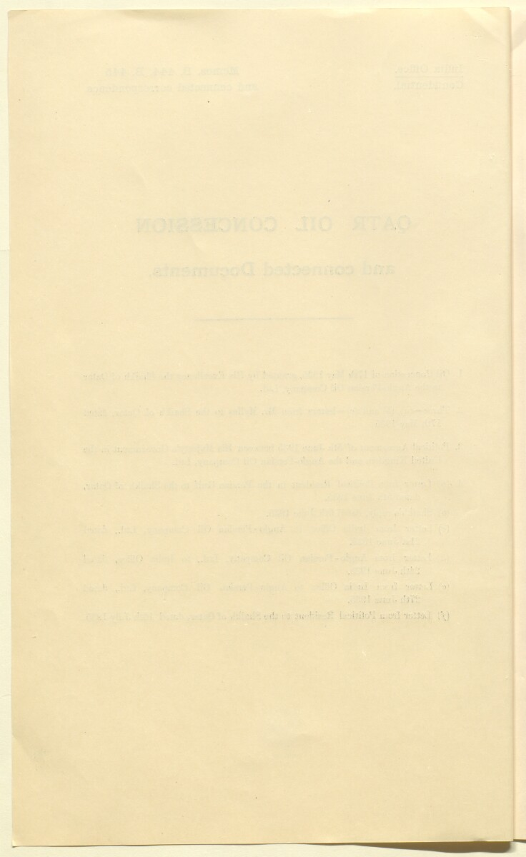 'Qatar Oil Concession and connected Documents [Oil concession granted by the Shaikh of Qatar to the Anglo-Persian Oil Company, 17 May 1935]' [‎1v] (2/10)