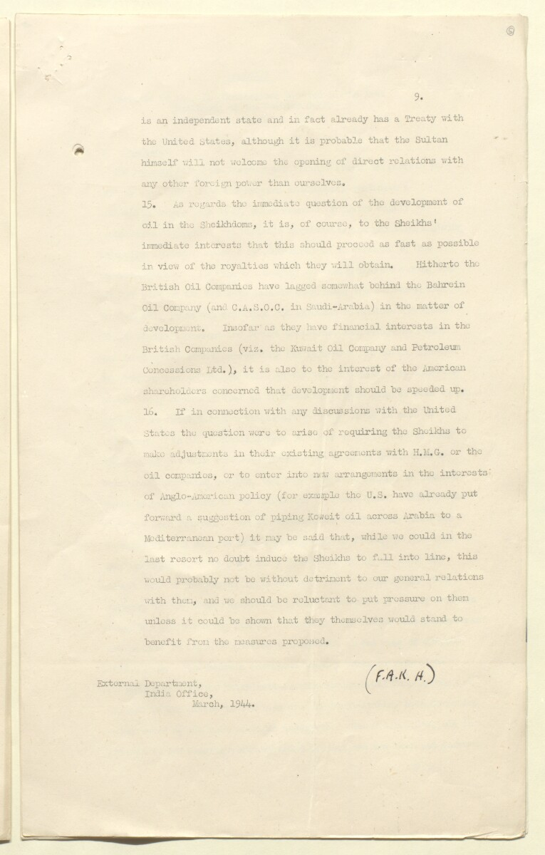 'Memorandum on the Oil Concessions in the Arab Sheikhdoms' [5r] (9/18)