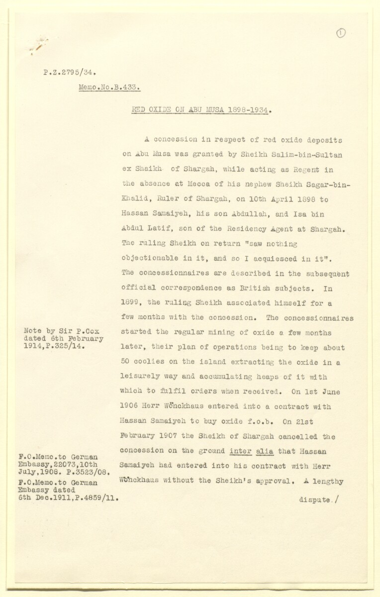 'Red oxide on Abu Musa, 1898-1934' [1r] (1/12)