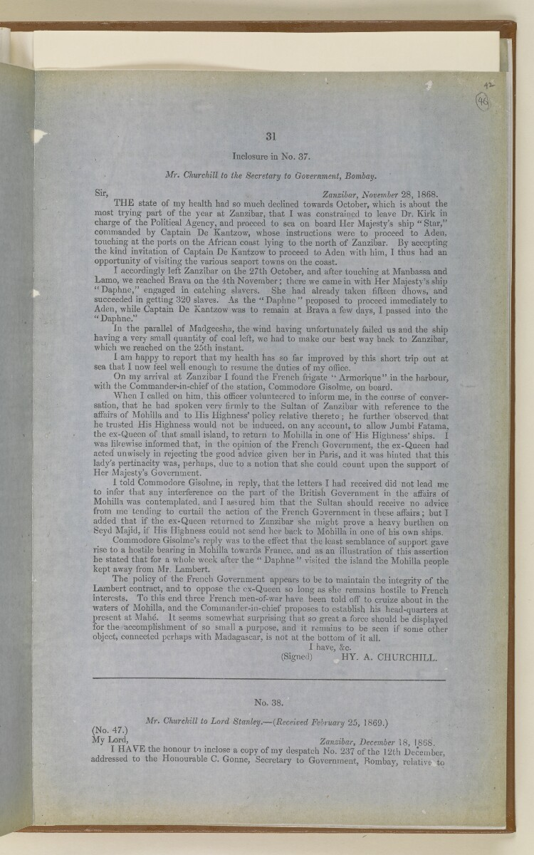 'Papers Respecting the Slave Trade on the East Coast of Africa and the System Pursued for its Suppression' [46r] (31/72)