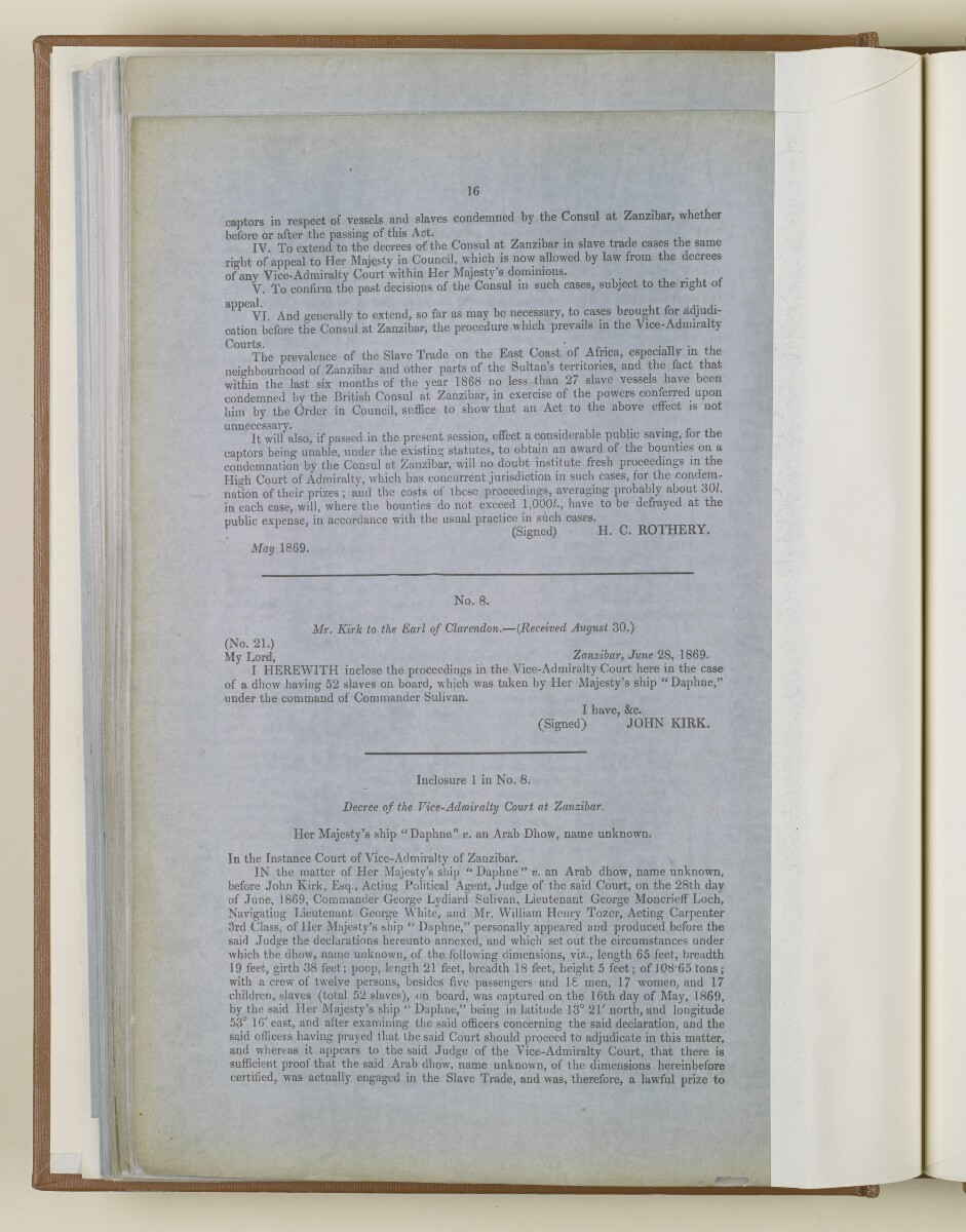 'Further Papers respecting the Slave Trade on the East Coast of Africa and the System Pursued for its Suppression' [‎74v] (16/50)