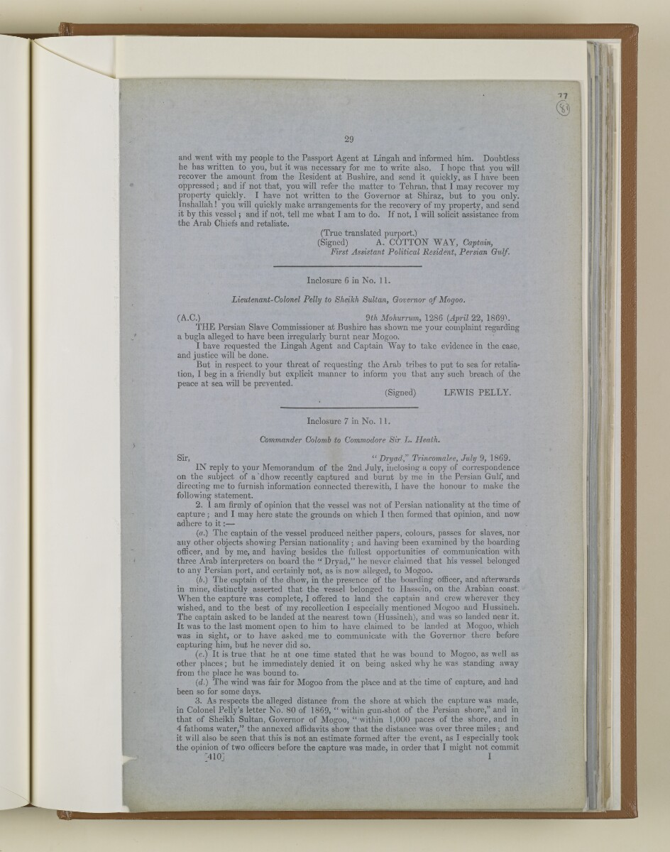 'Further Papers respecting the Slave Trade on the East Coast of Africa and the System Pursued for its Suppression' [81r] (29/50)