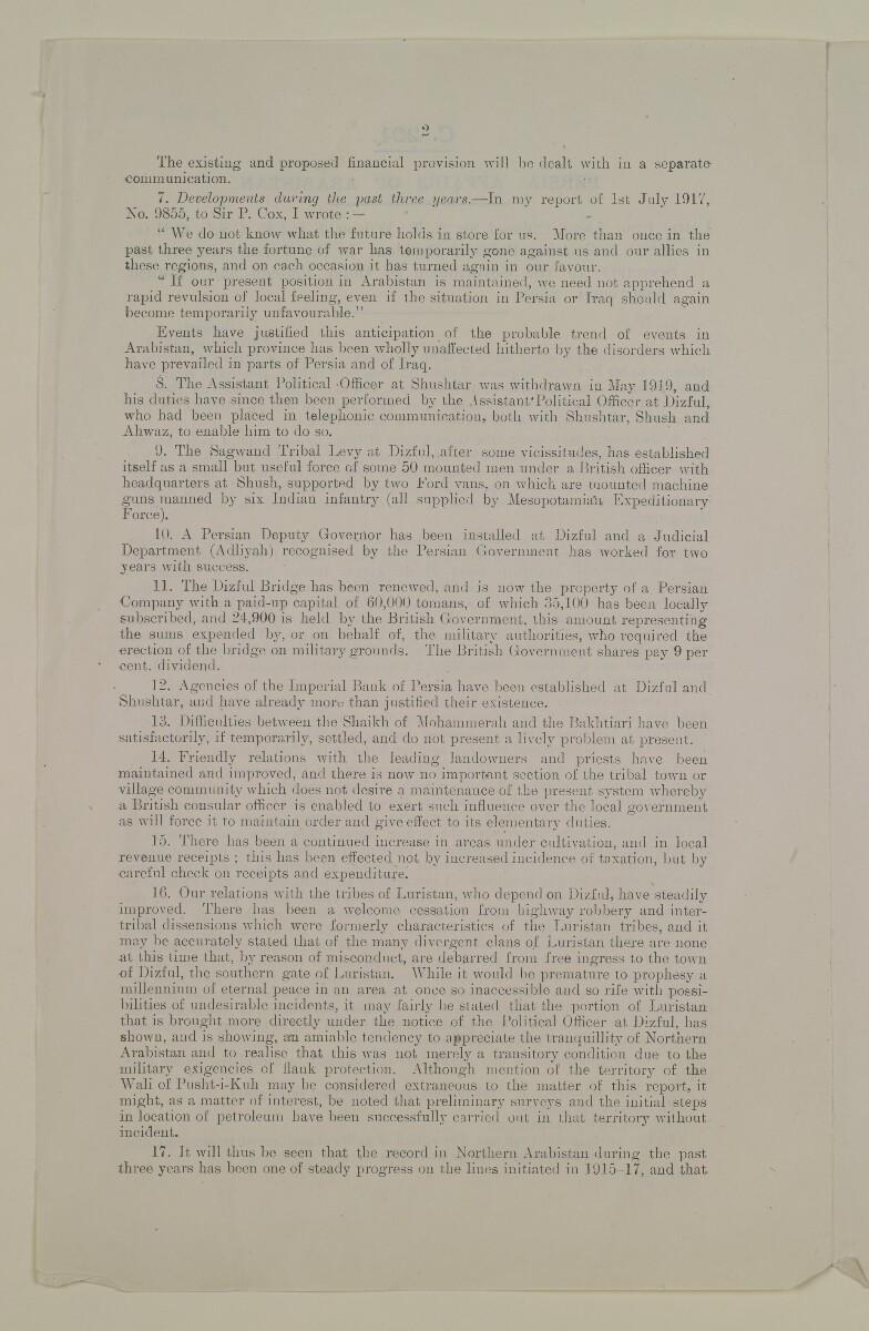 'Persia: Affairs of Arabistan' [1v] (2/6)