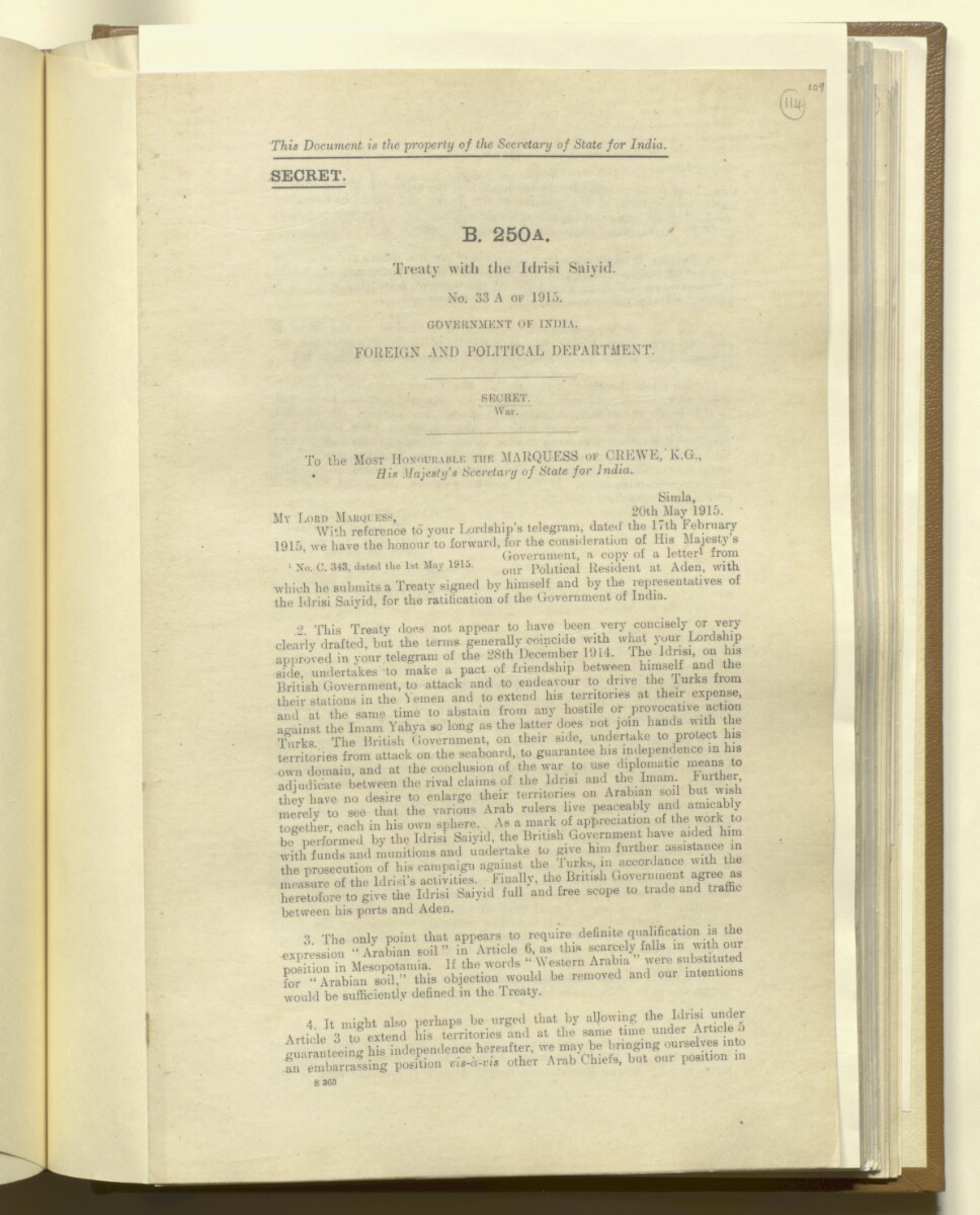 Treaty With The Idrisi Saiyid No 33a Of 1915 Government Of India