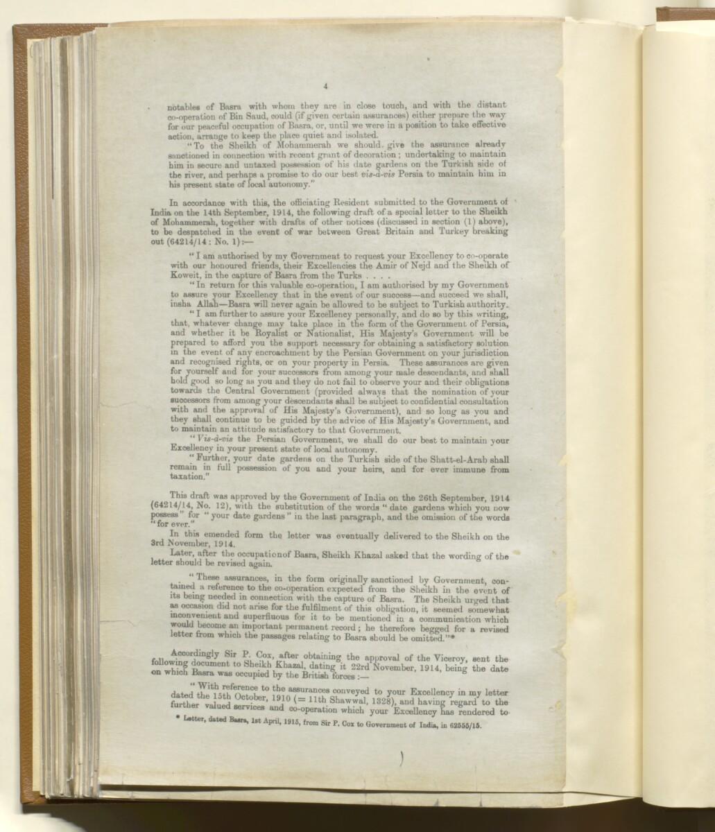'Memorandum on British Commitments (during the War) to the Gulf Chiefs' [144v] (4/14)