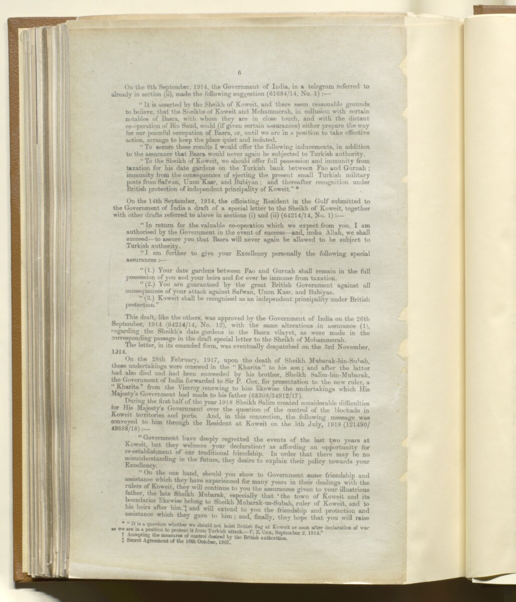 'Memorandum on British Commitments (during the War) to the Gulf Chiefs' [‎145v] (6/14)