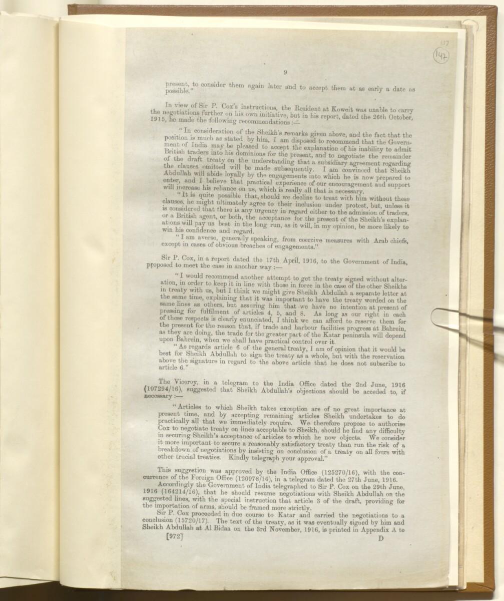 'Memorandum on British Commitments (during the War) to the Gulf Chiefs' [147r] (9/14)