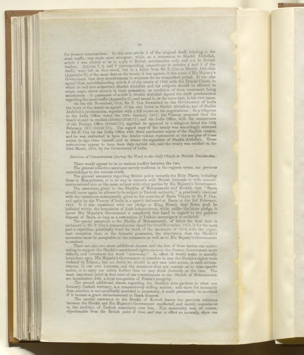 'Memorandum on British Commitments (during the War) to the Gulf Chiefs' [147v] (10/14)