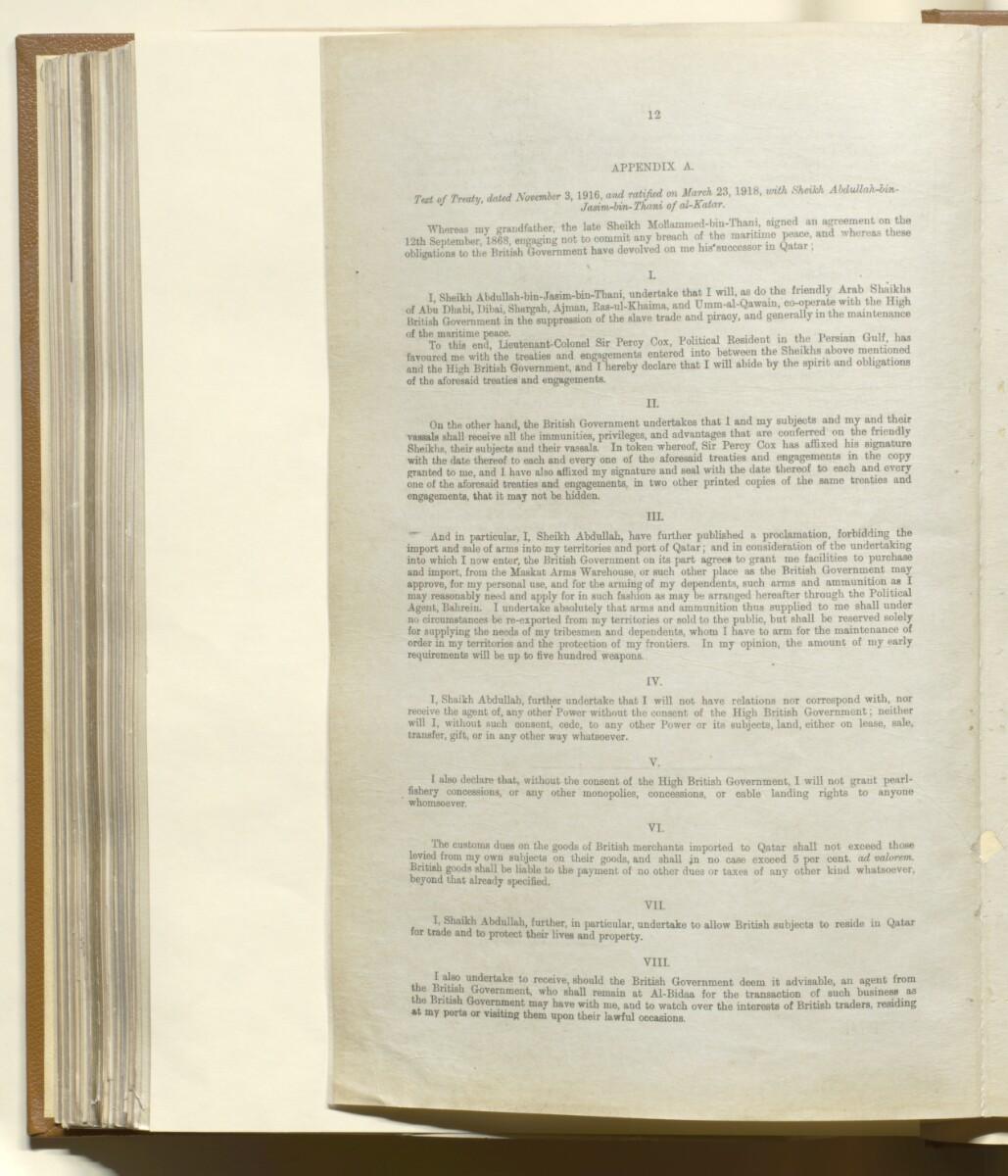 'Memorandum on British Commitments (during the War) to the Gulf Chiefs' [148v] (12/14)