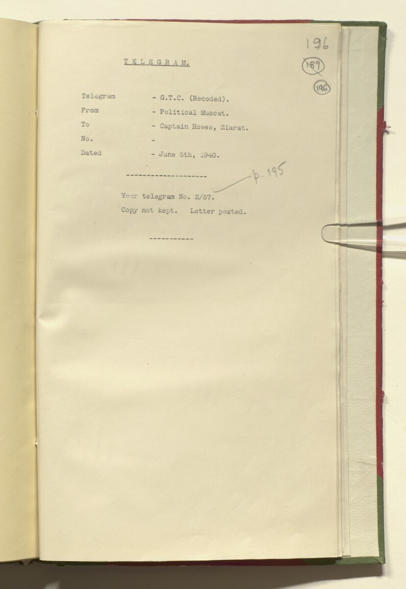 '15/3 Vol I XV - B/1 VISITORS SUSPECTS & UNDESIRABLES SULEMAN AL BARUNI AL NAFUSI & HIS RELATIVES Jan 1923 - June 1940.' [‎196r] (402/420)