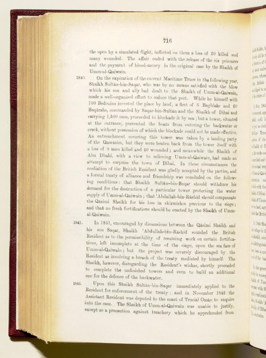 """""""دليل الخليج. مجلد I. القسم التاريخي. الأجزاء Iأ و Iب. ج.ج. لوريمر ١٩١٥"""" [<span dir=""""ltr"""">٧١٦</span>] (١٧٨٢/٨٥٩)"""