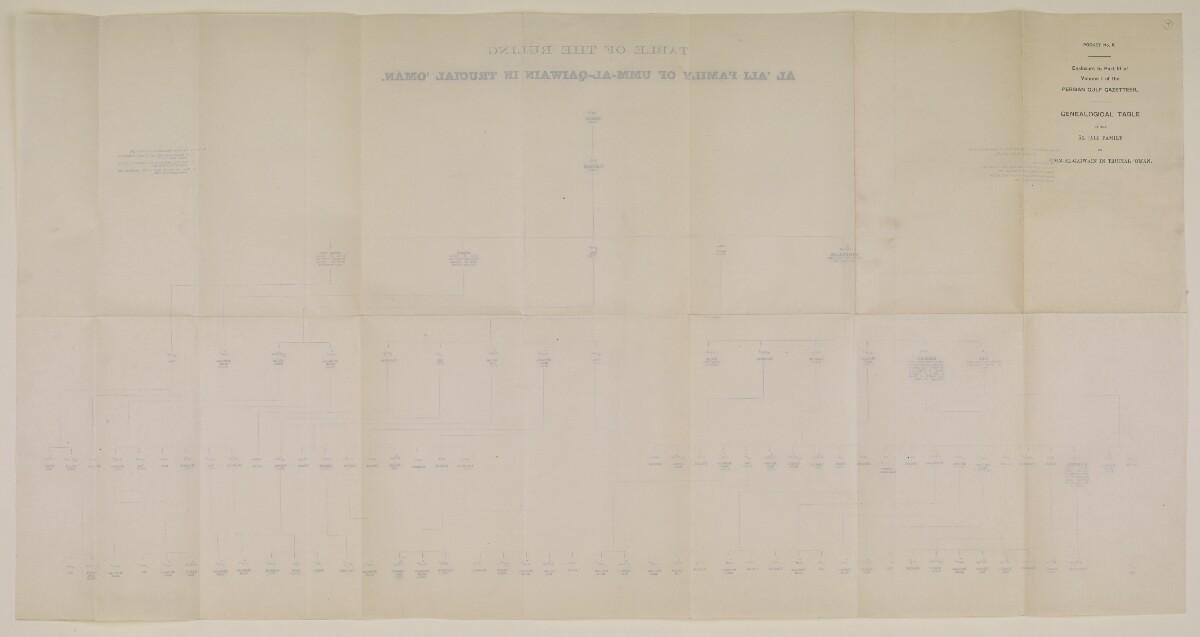 """""""الجيب رقم ٥: مرفق بالجزء الثالث من المجلد الأول من دليل الخليج: جدول أنساب أسرة آل علي الحاكمة في أم القيوين في عُمان المُتصالحة"""" [<span dir=""""ltr"""">و٧</span>] (٢/١)"""