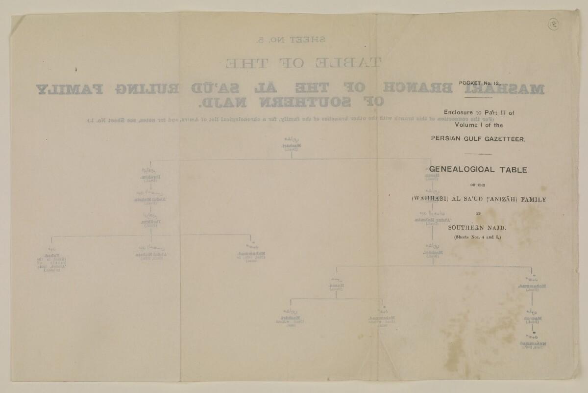 """""""الجيب رقم ١٣: مرفق بالجزء الثالث من المجلد الأول من دليل الخليج: جدول أنساب أسرة آل سعود (الوهابية) الحاكمة (عنيزة) في جنوبي نجد (الورقتان ٤ و٥)"""" [الورقة رقم ٥] [<span dir=""""ltr"""">و١٨</span>] (٢/١)"""