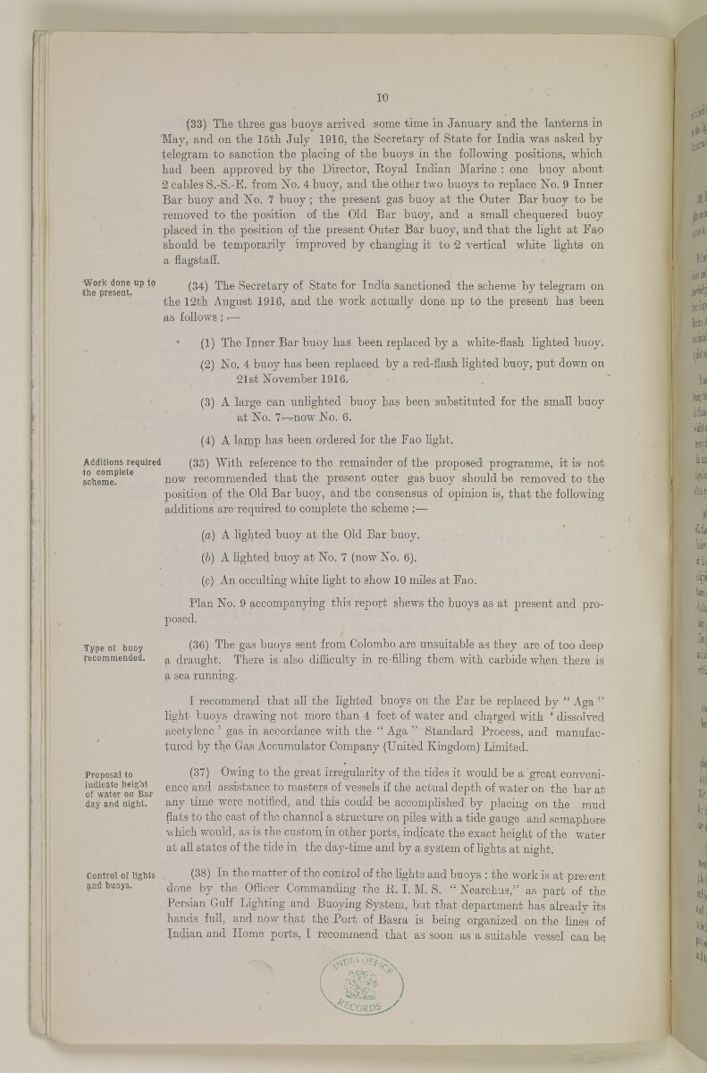 'Reports on (1) the Conservancy of the Shatt-el-Arab river from the Port of Basra to the Persian Gulf and on (2) the Development of the Port of Basra. By Sir George Buchanan Kt., C.I.E' [6v] (16/62)