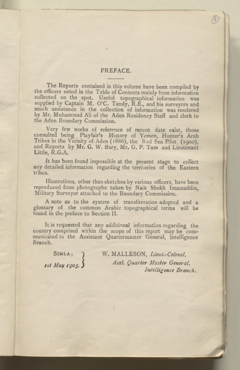 'Military report on the British Protectorate of Aden and the Amir of Dala's territories, with special reports on certain other tribes and adjoining border districts' [5r] (14/490)