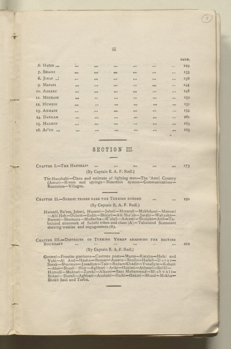 'Military report on the British Protectorate of Aden and the Amir of Dala's territories, with special reports on certain other tribes and adjoining border districts' [7r] (18/490)