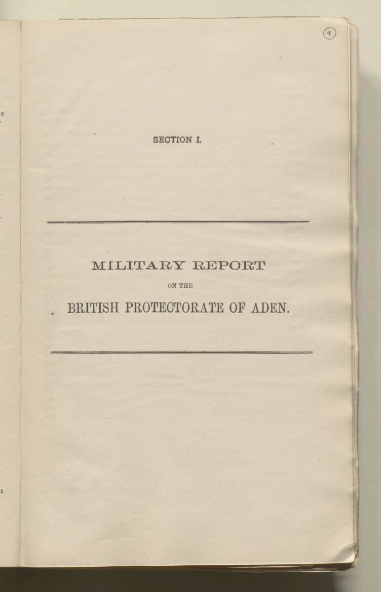 'Military report on the British Protectorate of Aden and the Amir of Dala's territories, with special reports on certain other tribes and adjoining border districts' [9r] (22/490)
