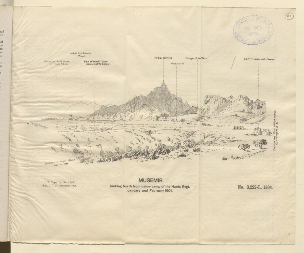 """<bdi class=""""metadata-value"""">'Musemir looking North from below camp of the Hants Regt. January and February 1904.'</bdi>"""