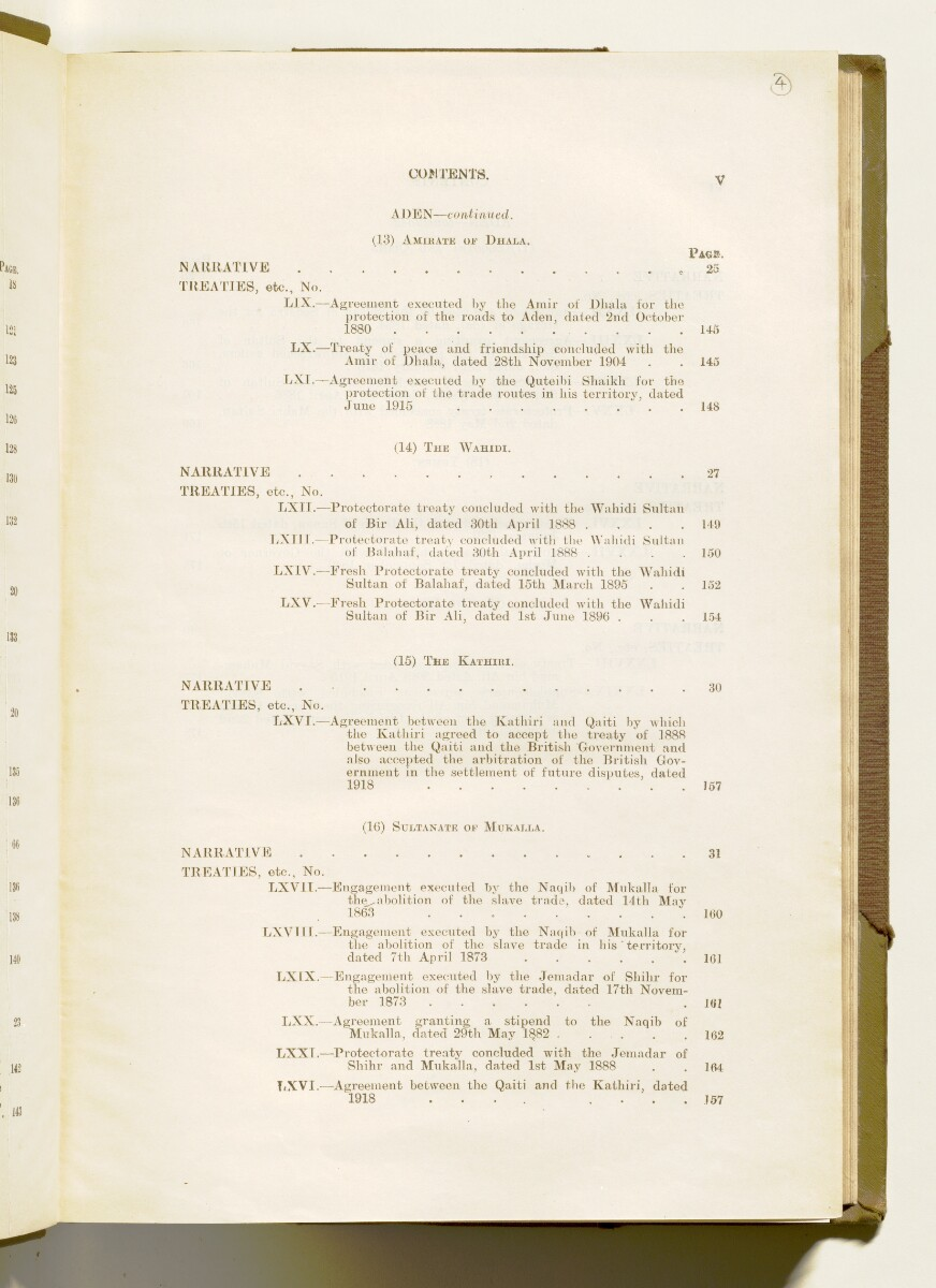 'A collection of treaties, engagements and sanads relating to India and neighbouring countries [...] Vol XI containing the treaties, & c., relating to Aden and the south western coast of Arabia, the Arab principalities in the Persian Gulf, Muscat (Oman), Baluchistan and the North-West Frontier Province' [4r] (16/822)