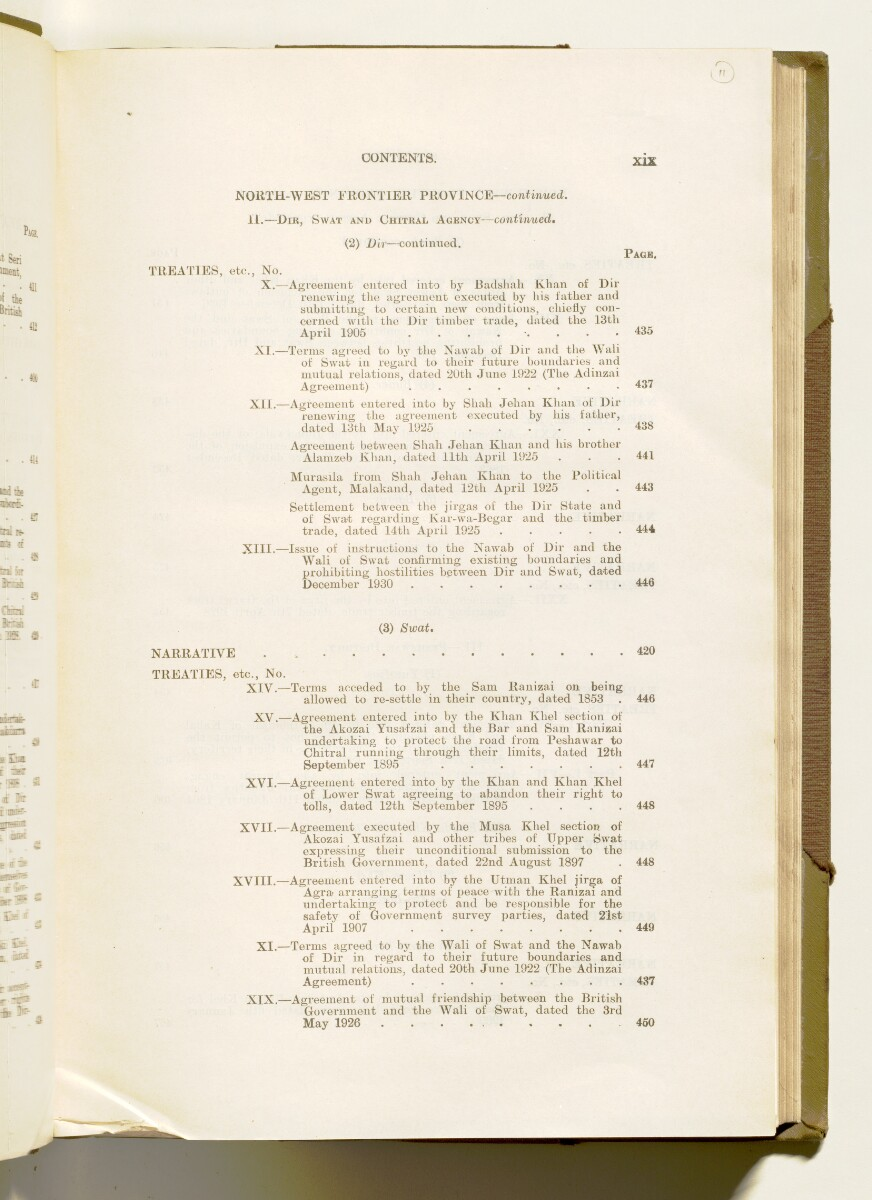 'A collection of treaties, engagements and sanads relating to India and neighbouring countries [...] Vol XI containing the treaties, & c., relating to Aden and the south western coast of Arabia, the Arab principalities in the Persian Gulf, Muscat (Oman), Baluchistan and the North-West Frontier Province' [11r] (30/822)