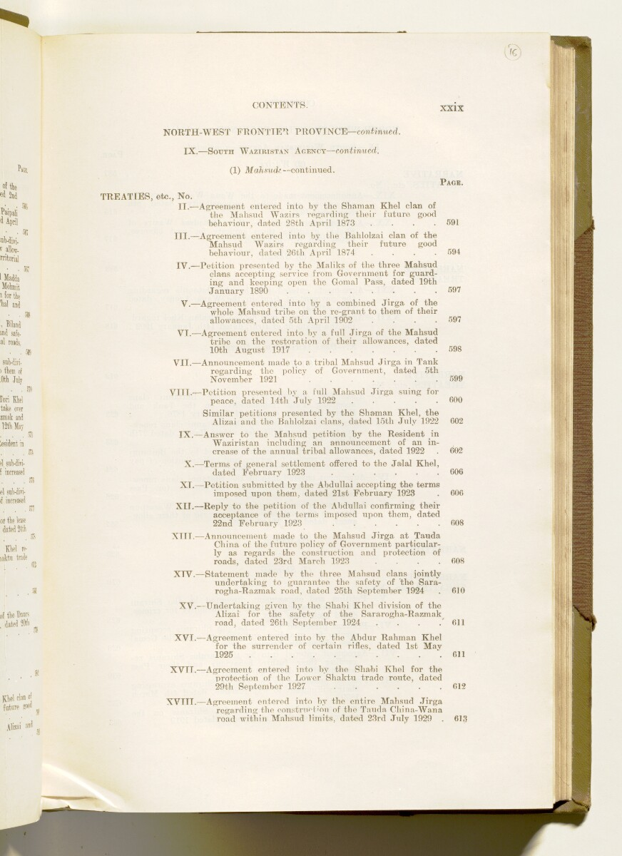 'A collection of treaties, engagements and sanads relating to India and neighbouring countries [...] Vol XI containing the treaties, & c., relating to Aden and the south western coast of Arabia, the Arab principalities in the Persian Gulf, Muscat (Oman), Baluchistan and the North-West Frontier Province' [‎16r] (40/822)